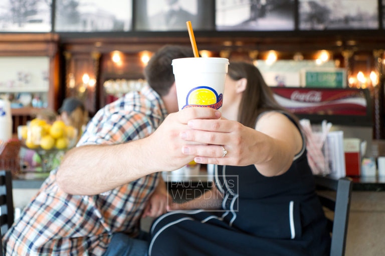 engagement ring with toomer's lemonade