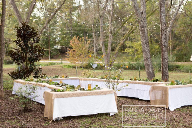 backyard burlap wedding reception