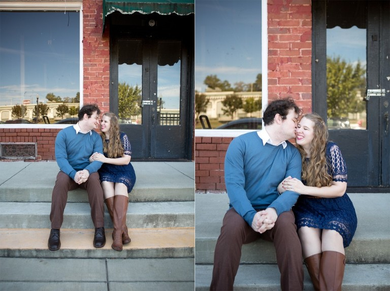 downtown engagement photo on stairs