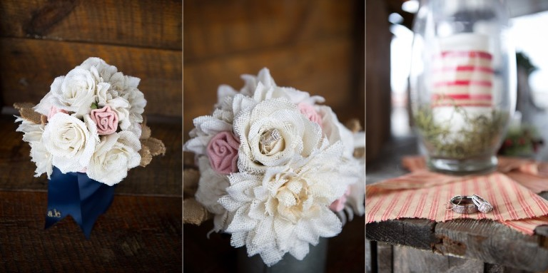 burlap bouquet and rings