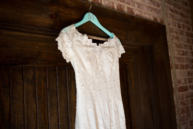 wedding gown hanging