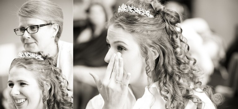 bride crying with mother