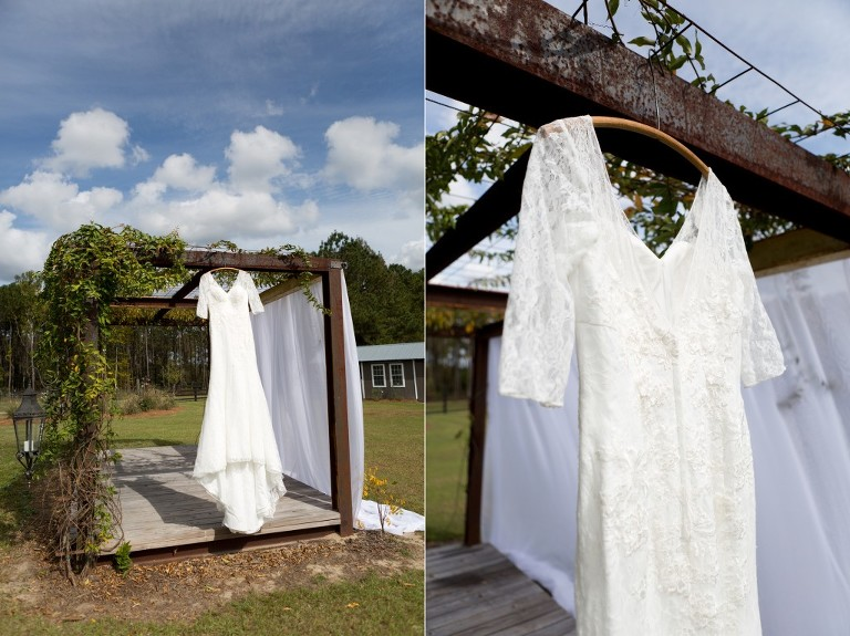 wedding gown hanging outside