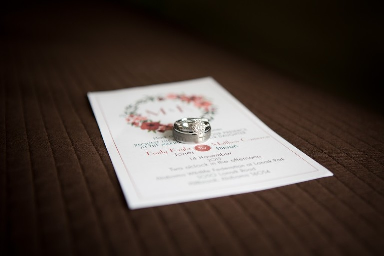 wedding rings in invitation