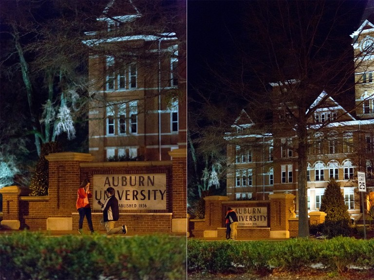 man proposing in front of samford hall