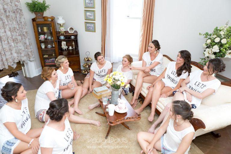 bridesmaids matching shirts getting ready