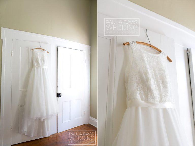 bride's dress hanging on parent's closet doors
