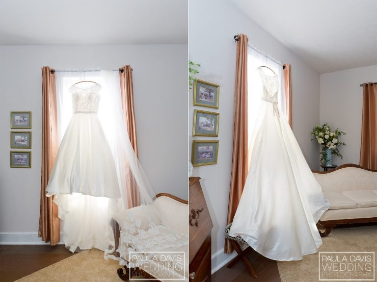 bridal gown in old house