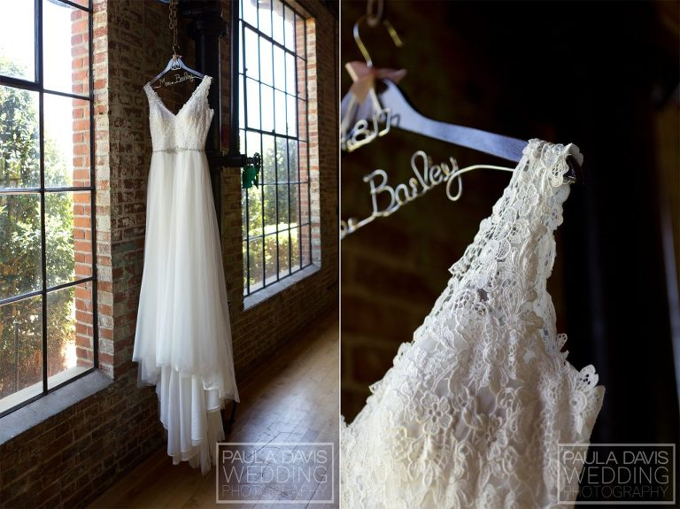 bridal gown with personalized hanger
