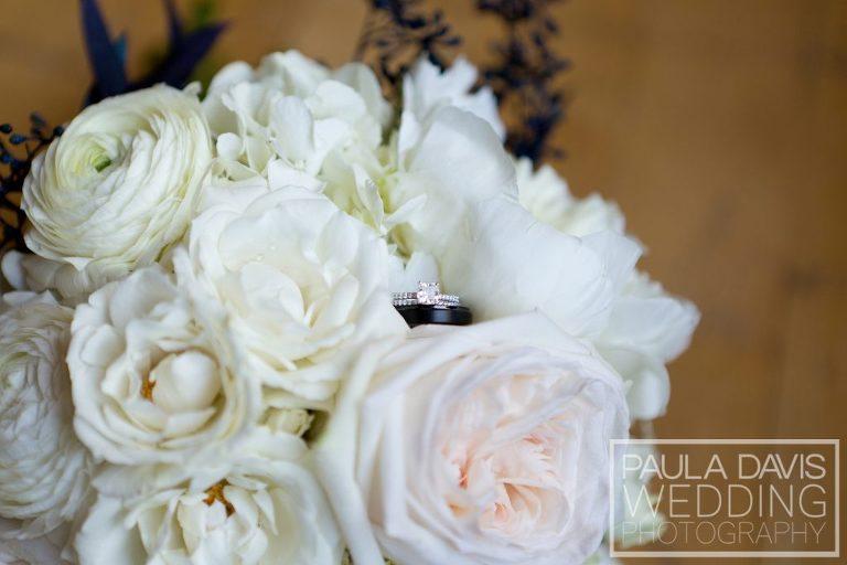 wedding rings in bouquet