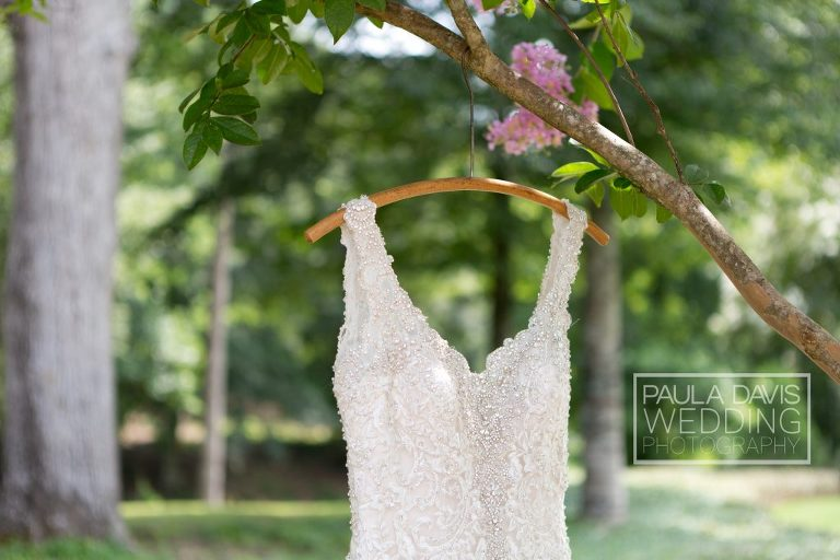 bride's dress hanging from tree