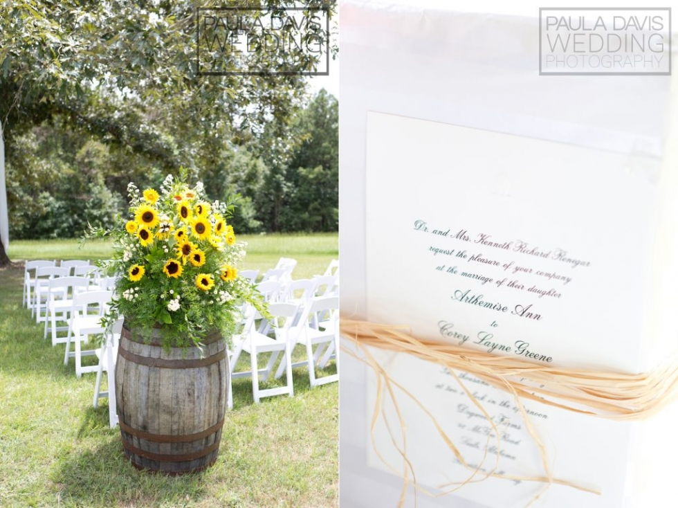sunflower wedding display
