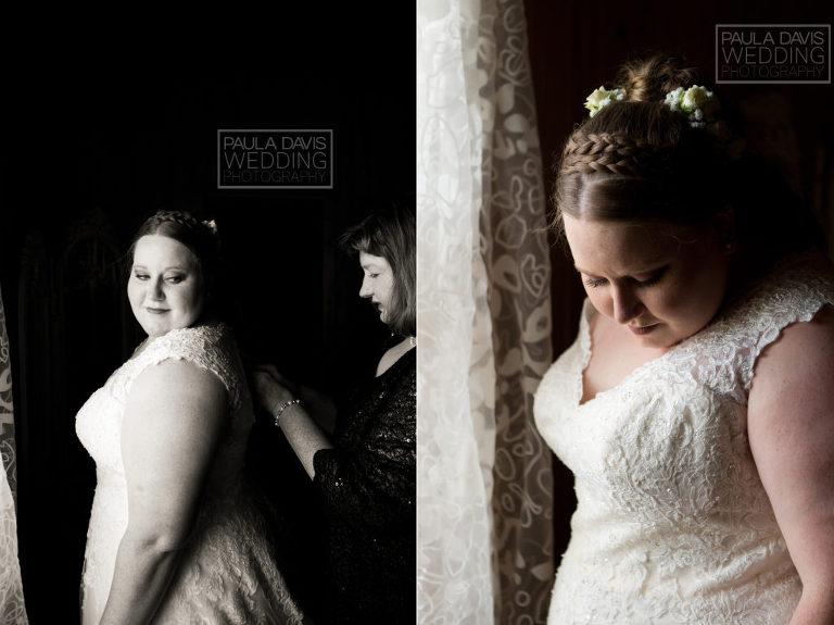 bride getting ready next to window