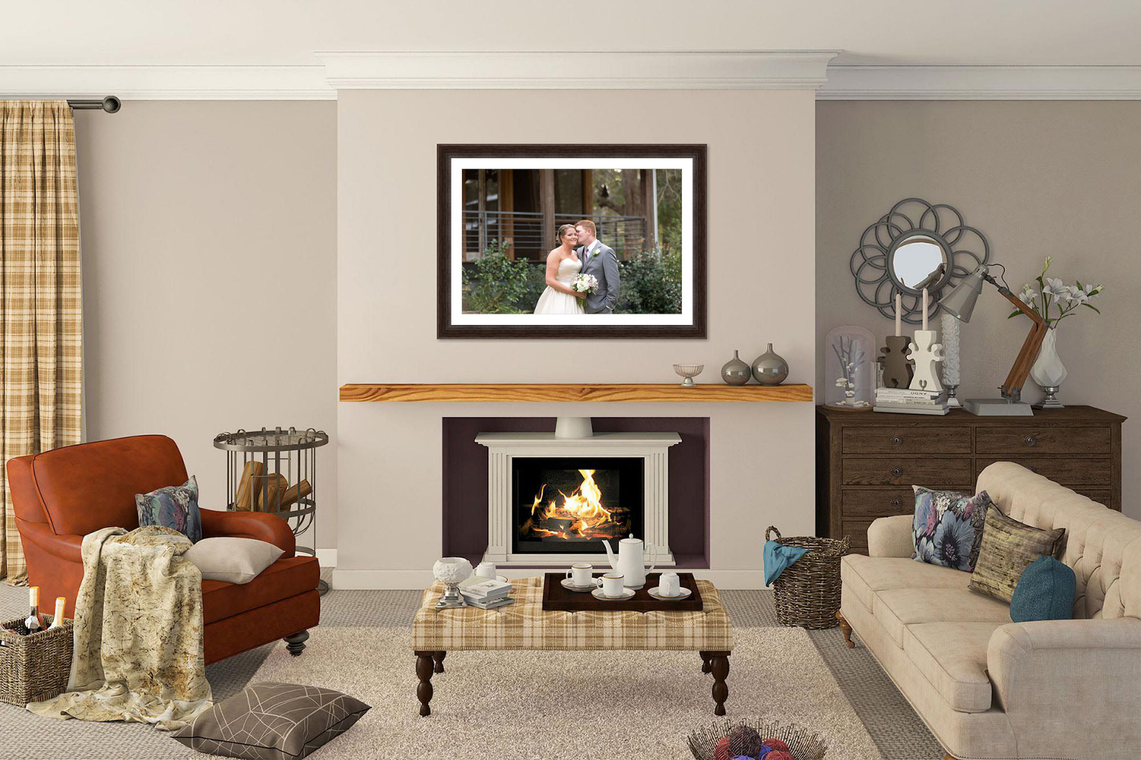 framed wall art above fireplace