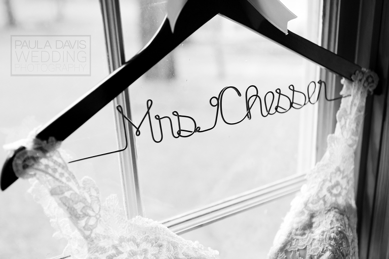 personalize bride hanger in a window