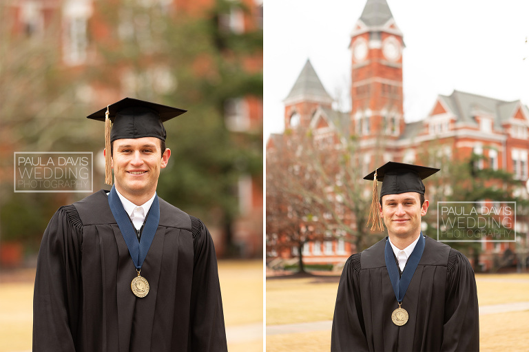 auburn university graduate wearing cap and gown in view of samford hall