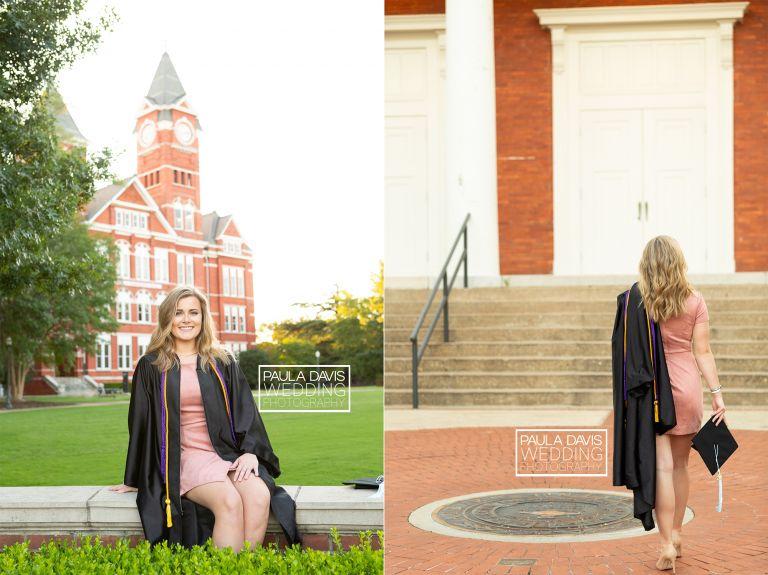girl having cap and gown portraits taken at auburn university